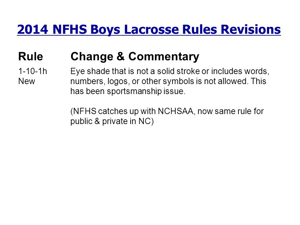2014 NFHS Boys Lacrosse Rules Revisions