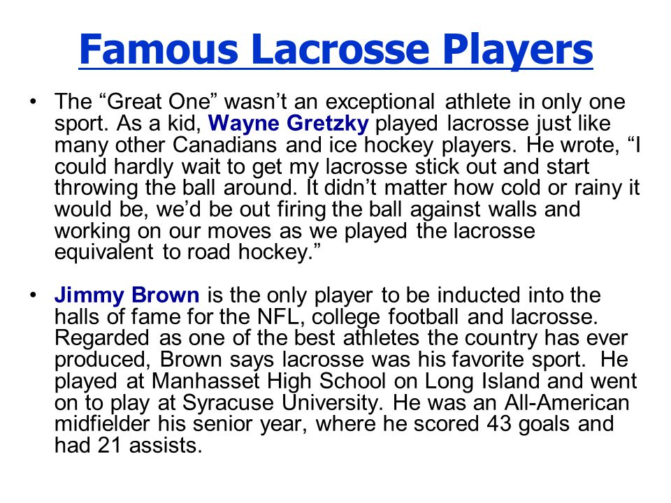 Famous Lacrosse Players