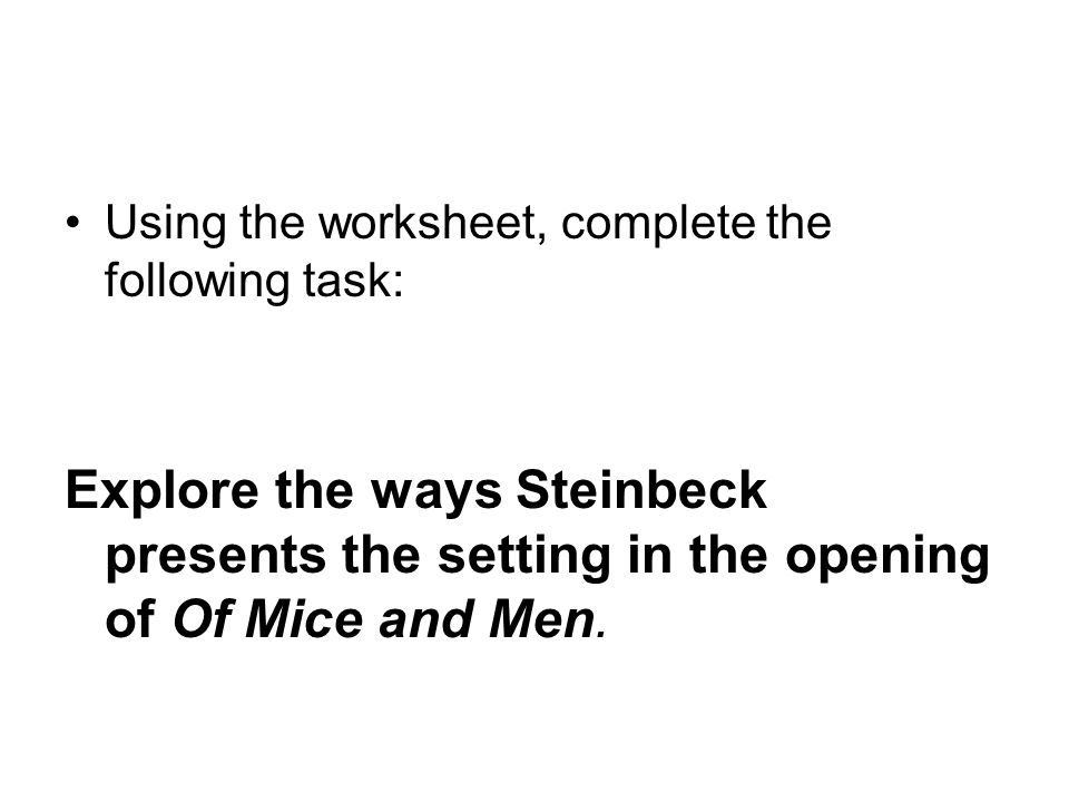 Using the worksheet, complete the following task: