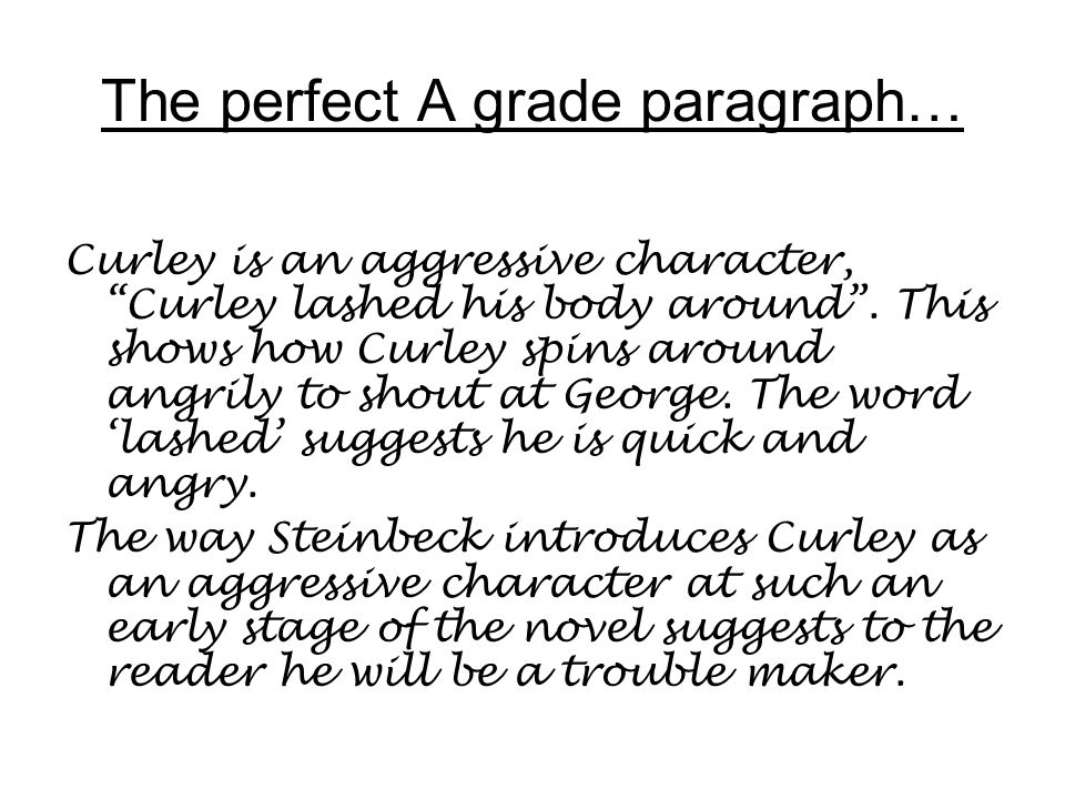 The perfect A grade paragraph…