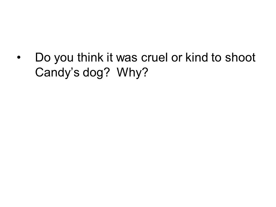 Do you think it was cruel or kind to shoot Candy's dog Why