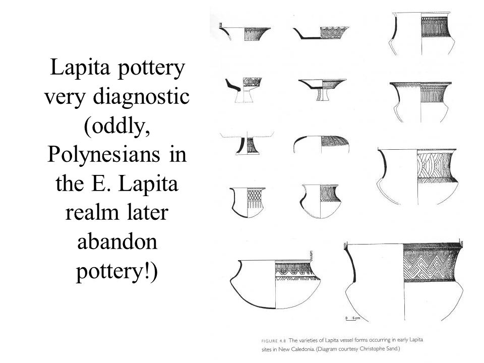 Lapita pottery very diagnostic (oddly, Polynesians in the E
