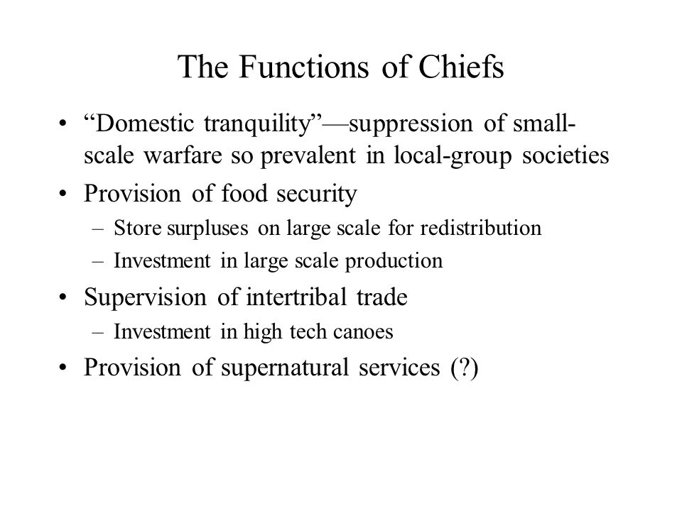 The Functions of Chiefs