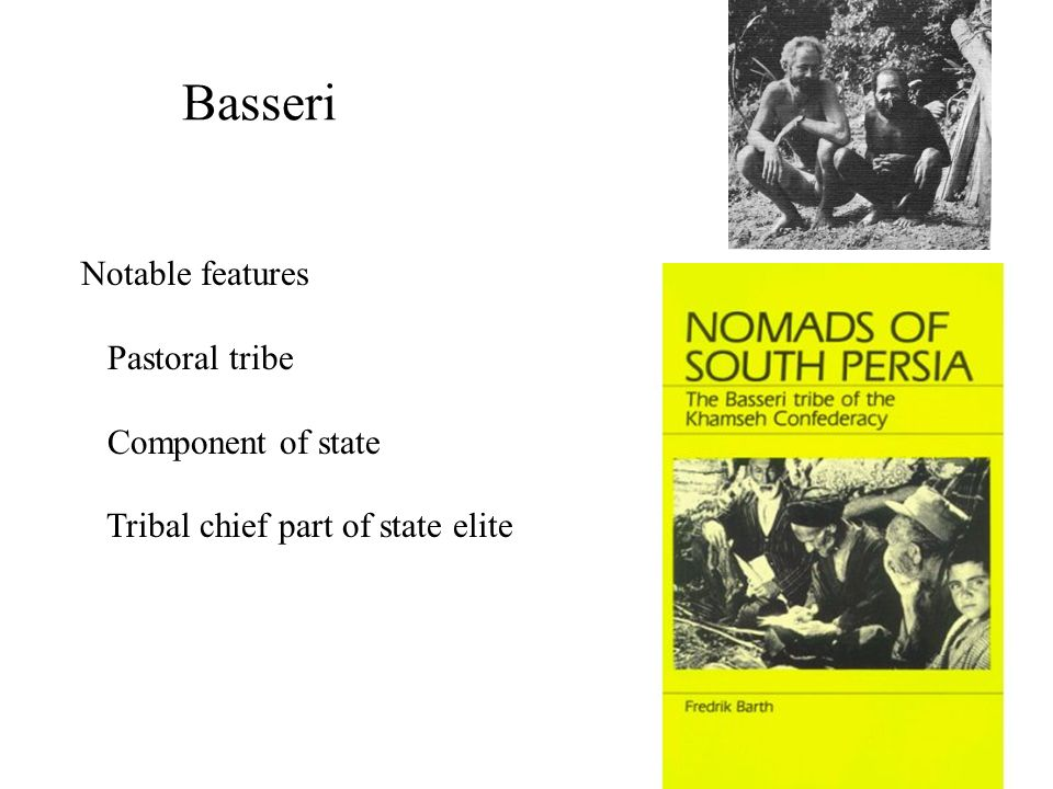 Basseri Notable features Pastoral tribe Component of state