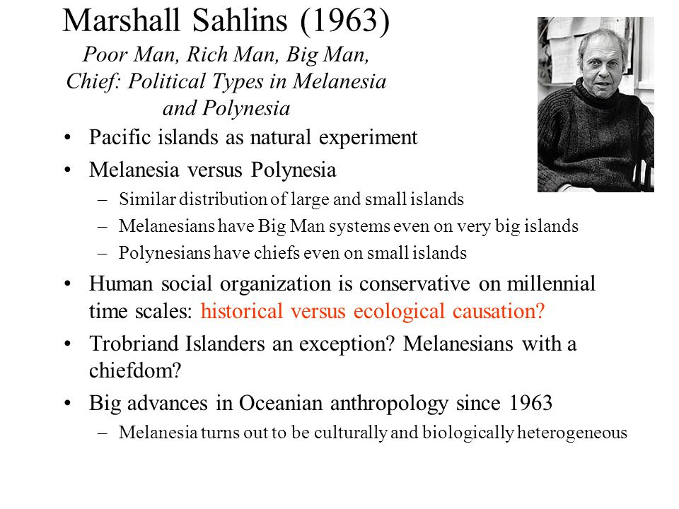 Marshall Sahlins (1963) Poor Man, Rich Man, Big Man, Chief: Political Types in Melanesia and Polynesia