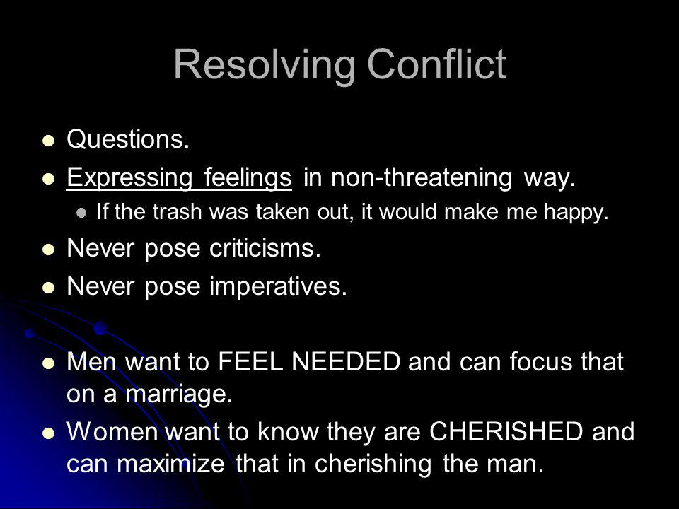 Resolving Conflict Questions.