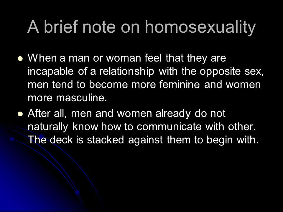 A brief note on homosexuality