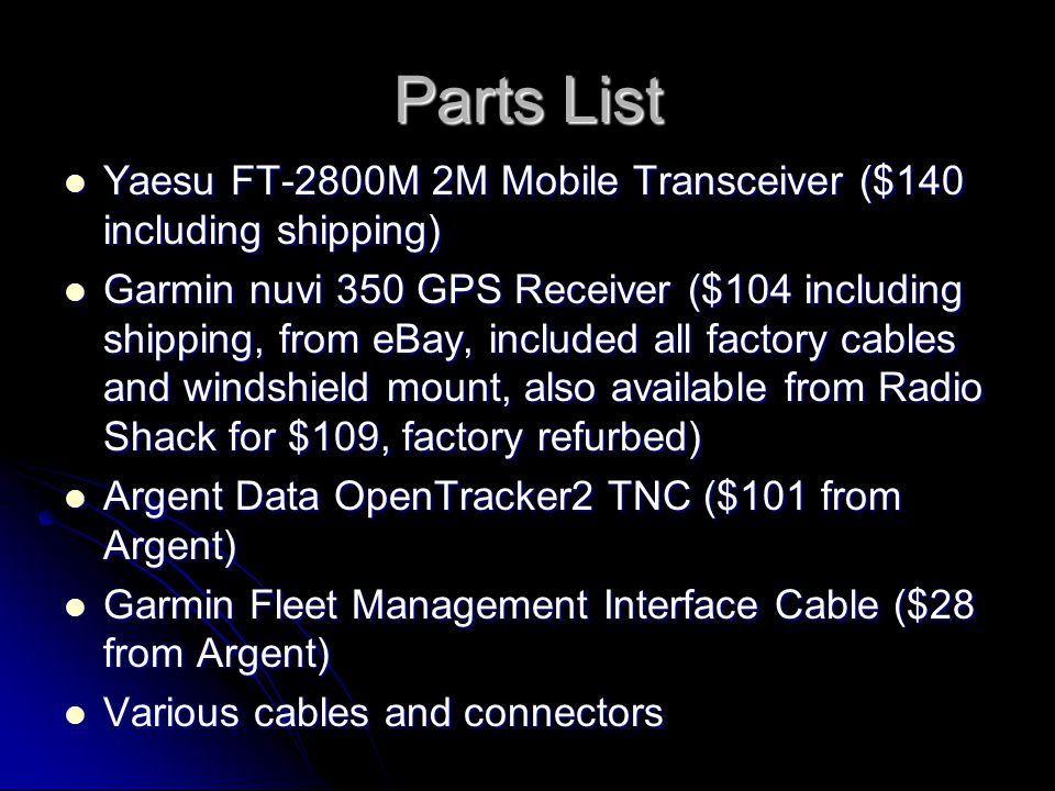 Parts List Yaesu FT-2800M 2M Mobile Transceiver ($140 including shipping)