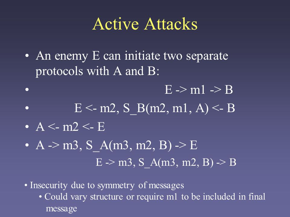 Active Attacks An enemy E can initiate two separate protocols with A and B: E -> m1 -> B. E <- m2, S_B(m2, m1, A) <- B.