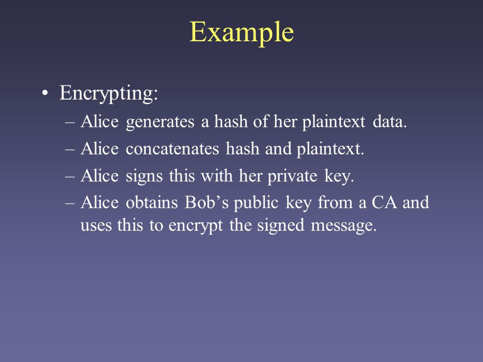Example Encrypting: Alice generates a hash of her plaintext data.