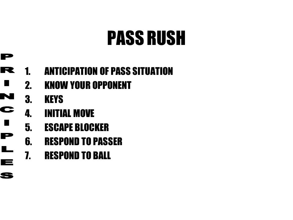 PASS RUSH PRINCIPLES ANTICIPATION OF PASS SITUATION KNOW YOUR OPPONENT