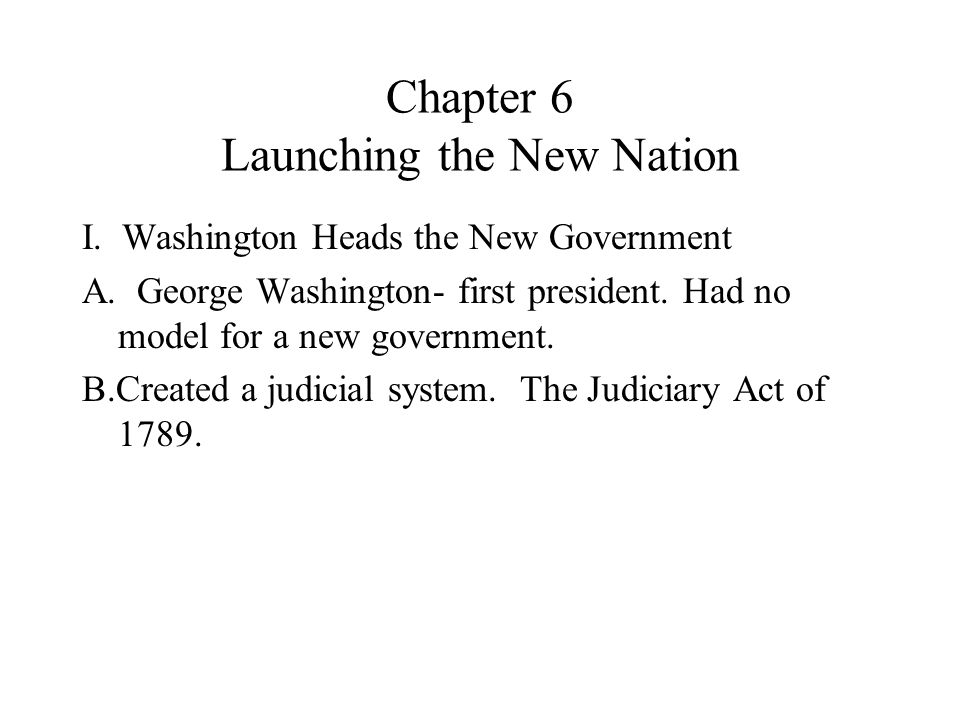 Chapter 6 Launching the New Nation
