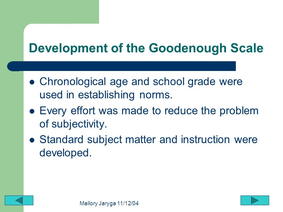 Development of the Goodenough Scale