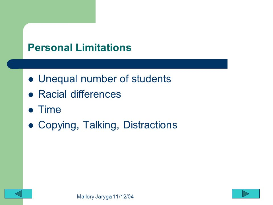Unequal number of students Racial differences Time