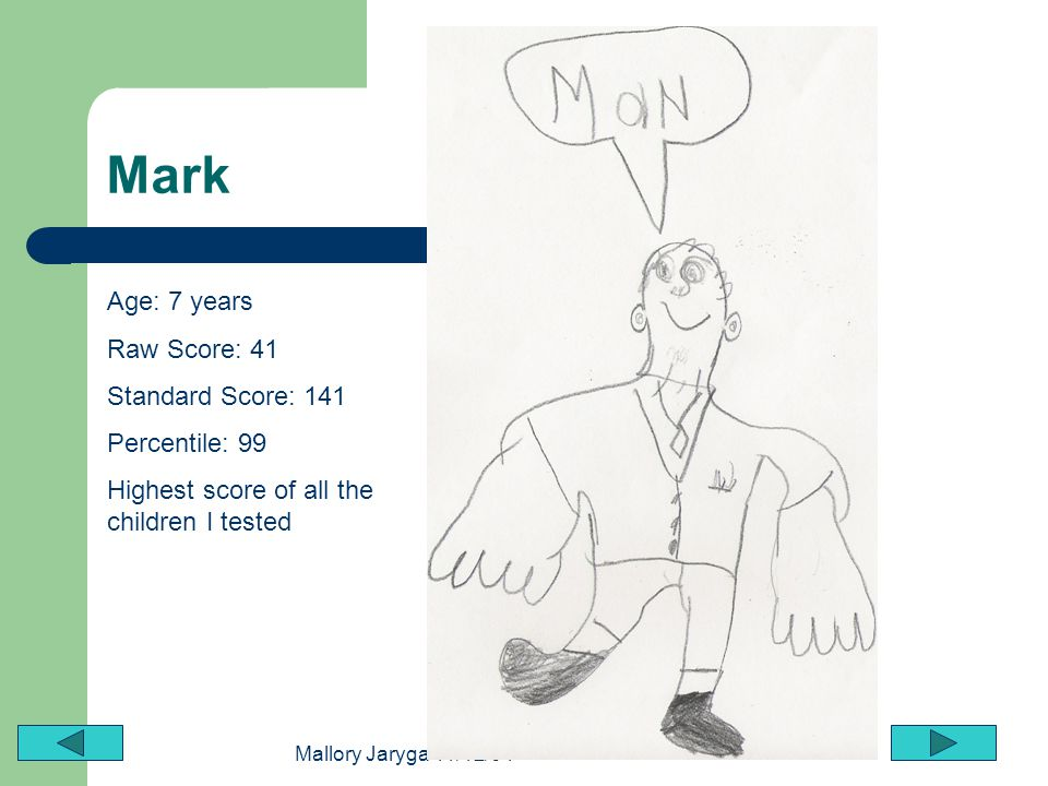 Mark Age: 7 years Raw Score: 41 Standard Score: 141 Percentile: 99