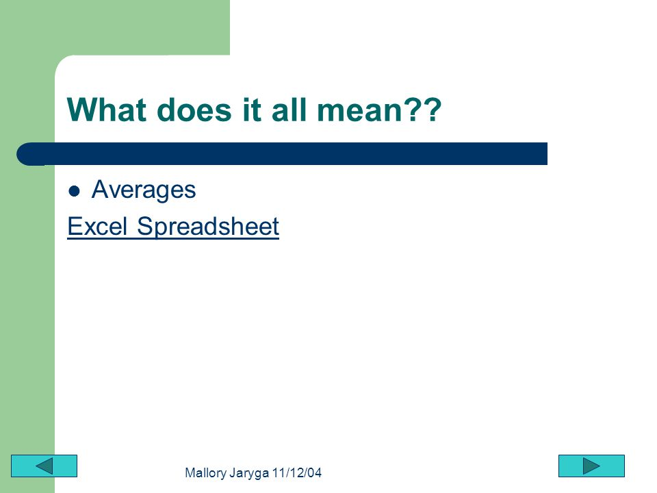 What does it all mean Averages Excel Spreadsheet