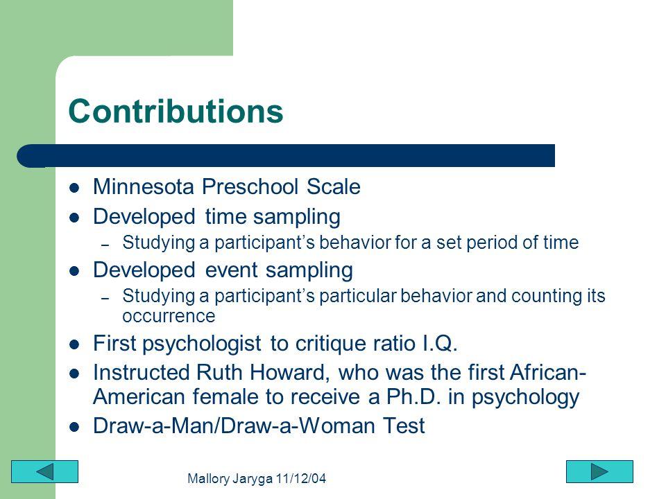 Contributions Minnesota Preschool Scale Developed time sampling