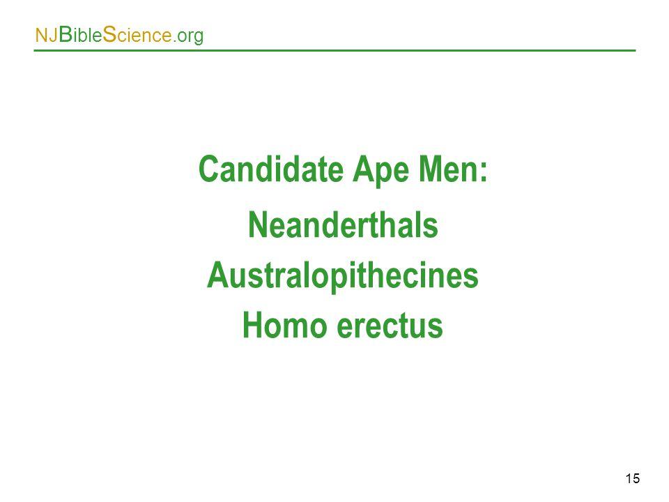 Candidate Ape Men: Neanderthals Australopithecines Homo erectus