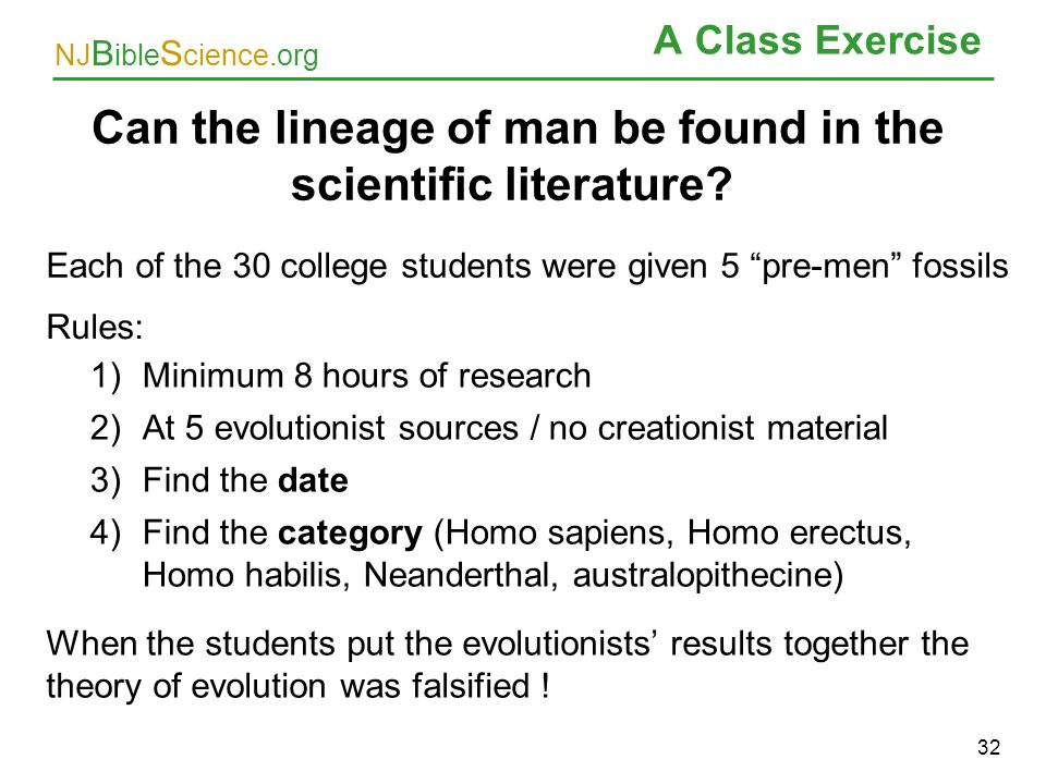 Can the lineage of man be found in the scientific literature