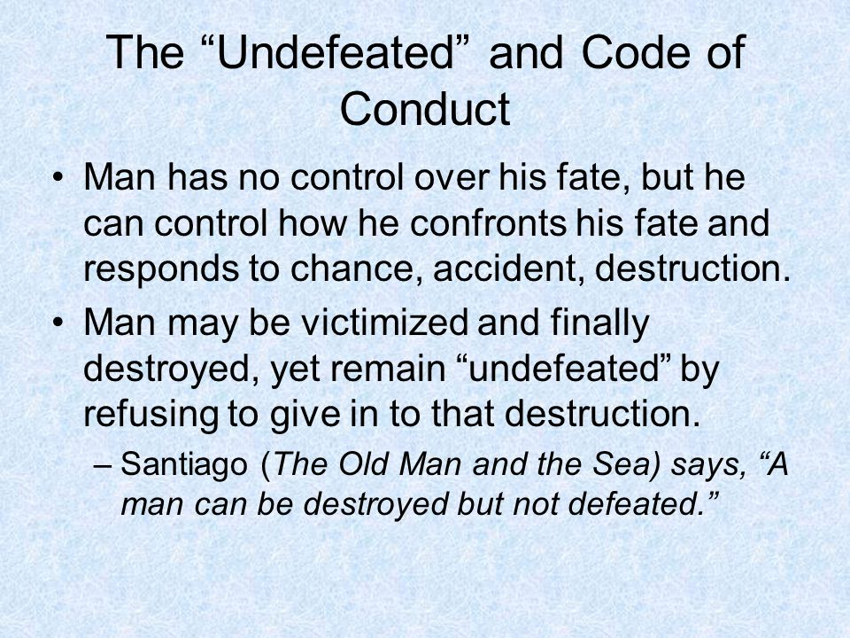 The Undefeated and Code of Conduct