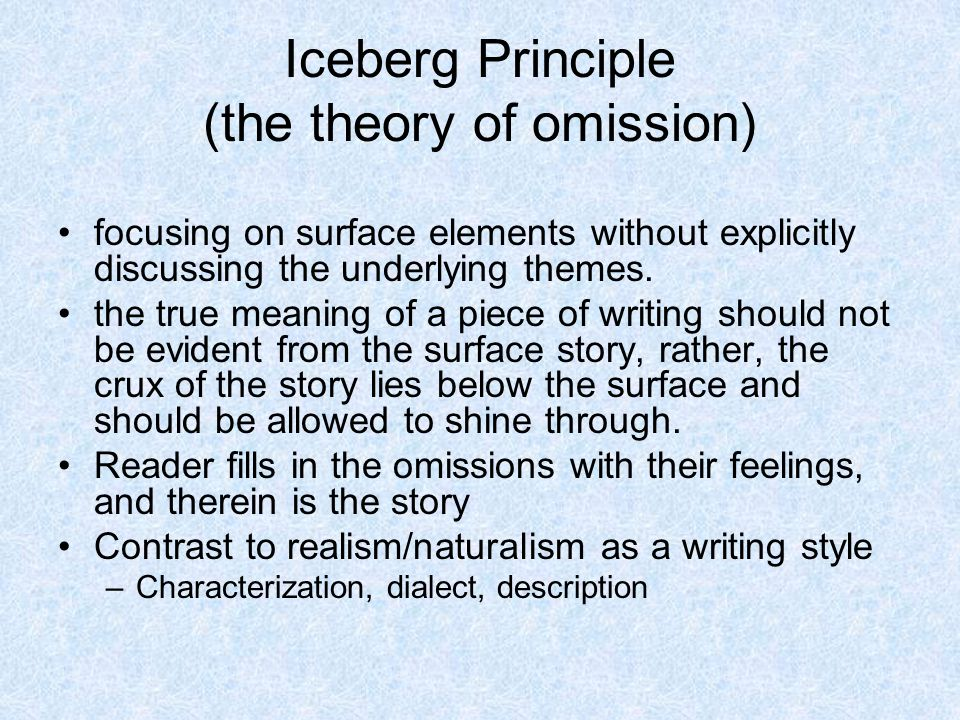 the use of the iceberg principle in the novel the old man and the sea by ernest hemingway This slid explain the relationship between the iceberg theory in the old man and the sea by earnest hemingway this slid is composed by jarupha p mfu thaila.
