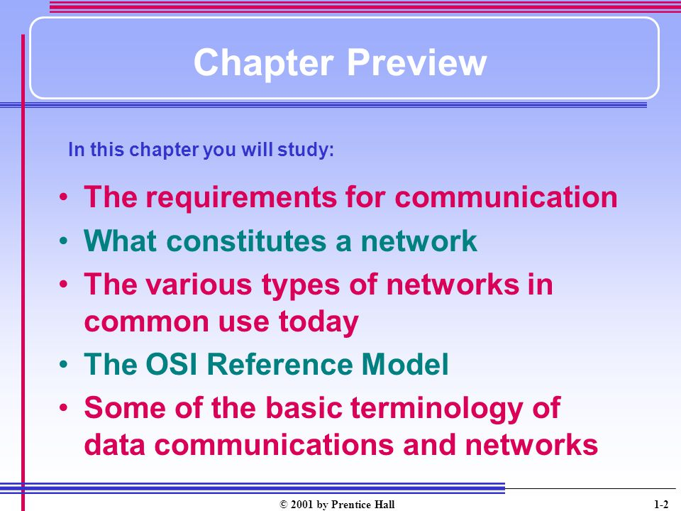 Chapter Preview The requirements for communication