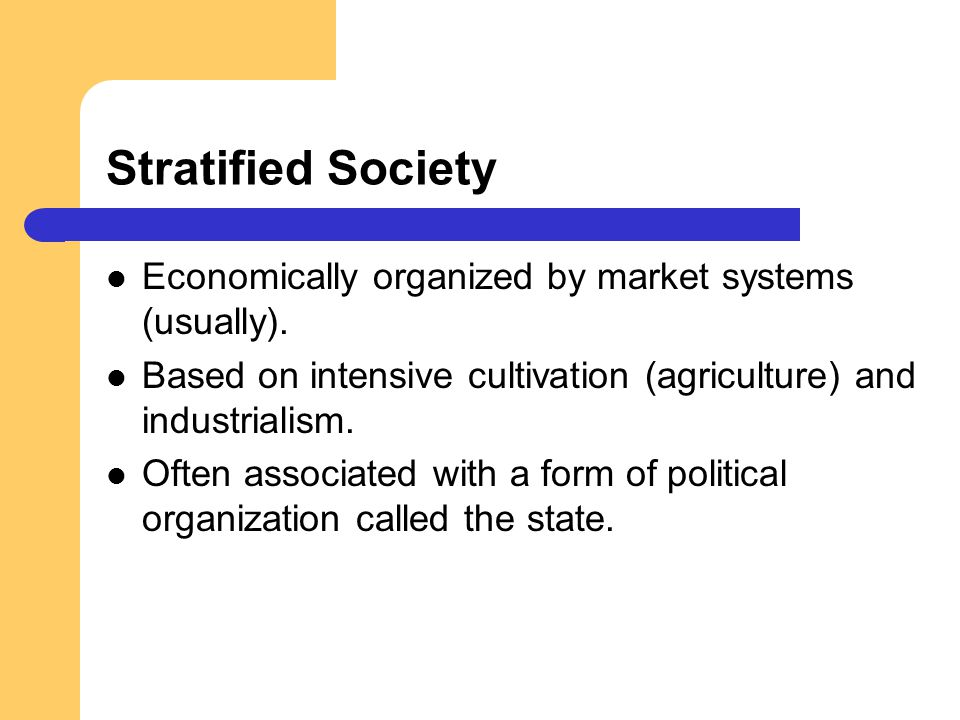 Stratified Society Economically organized by market systems (usually).