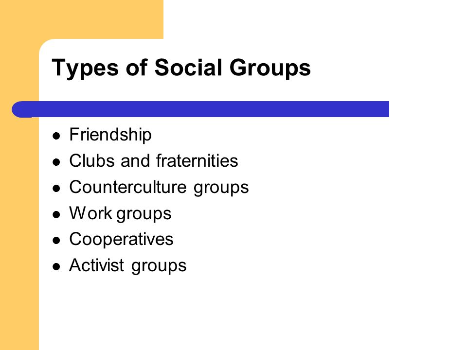 Types of Social Groups Friendship Clubs and fraternities