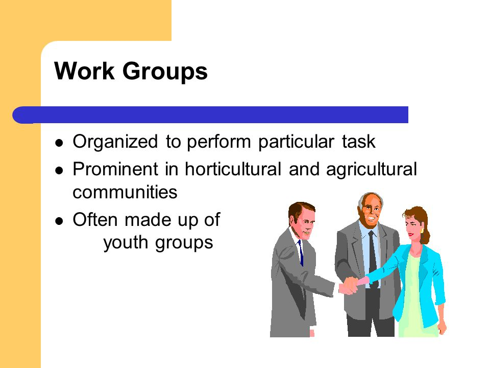 Work Groups Organized to perform particular task