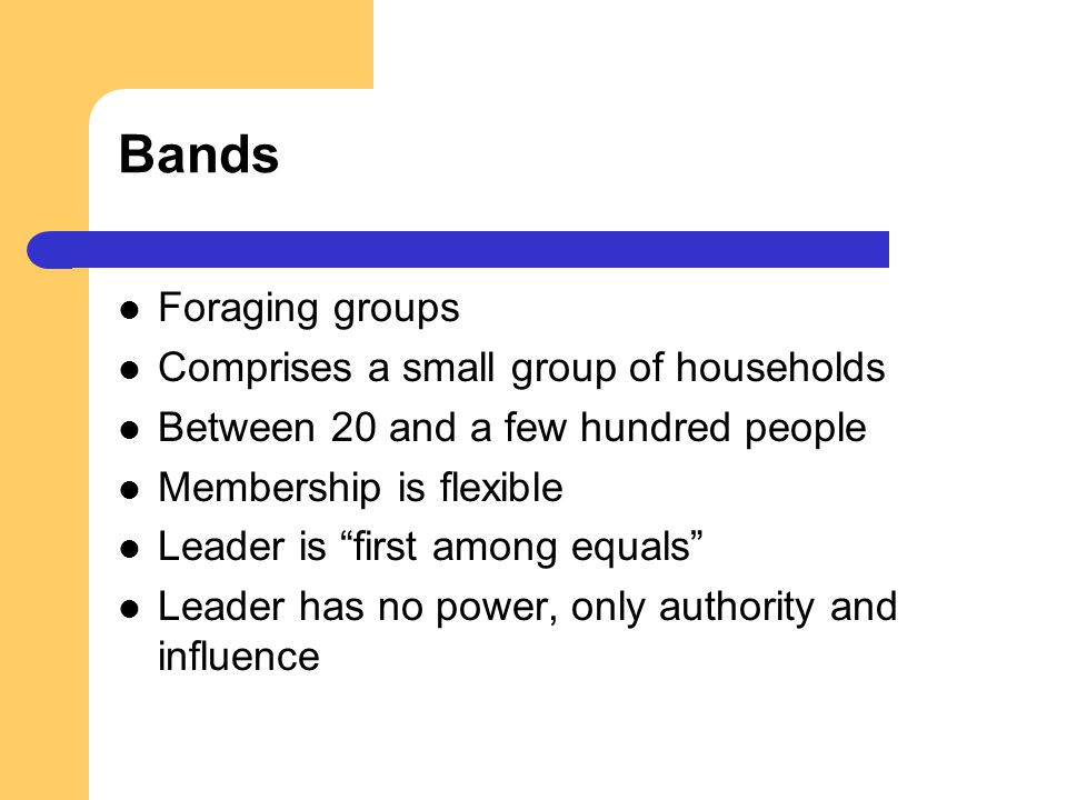 Bands Foraging groups Comprises a small group of households