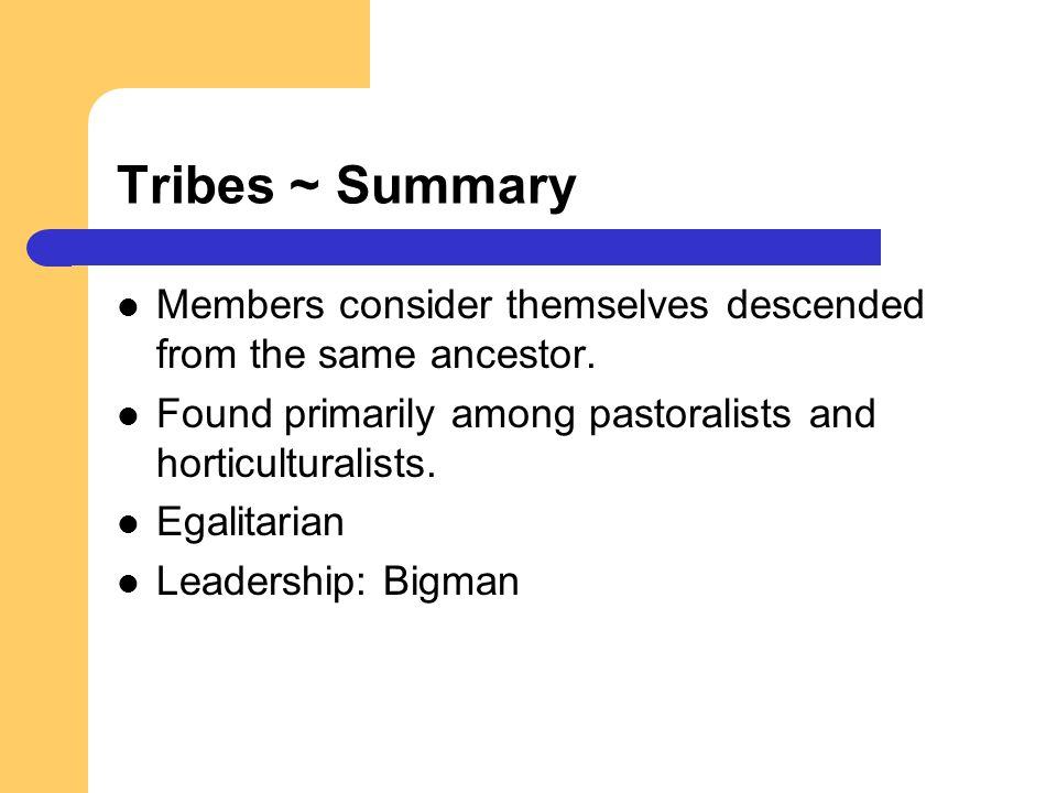 Tribes ~ Summary Members consider themselves descended from the same ancestor. Found primarily among pastoralists and horticulturalists.