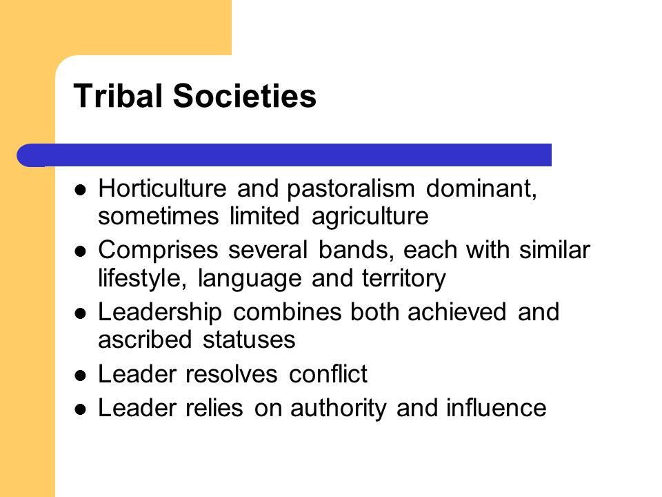 Tribal Societies Horticulture and pastoralism dominant, sometimes limited agriculture.