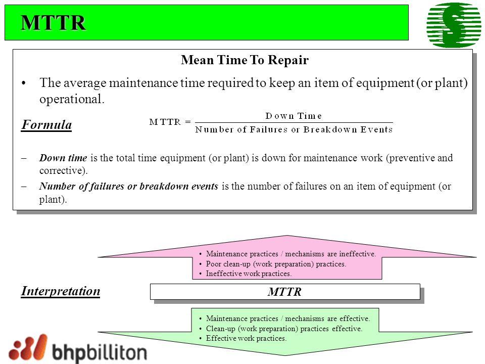 MTTR Mean Time To Repair