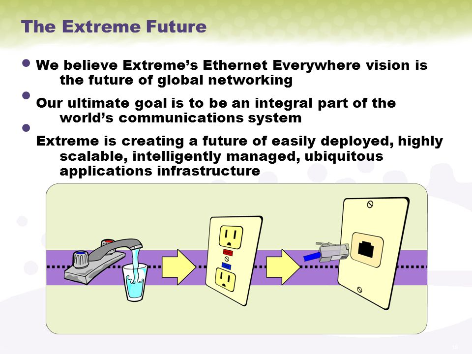 The Extreme Future We believe Extreme's Ethernet Everywhere vision is the future of global networking.