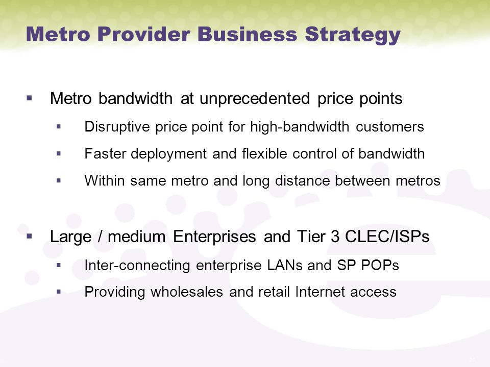 Metro Provider Business Strategy