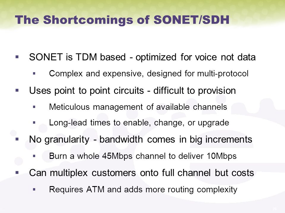 The Shortcomings of SONET/SDH
