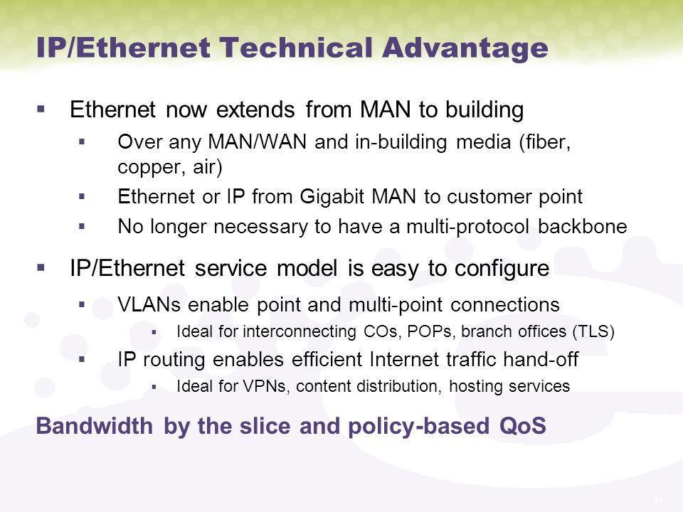 IP/Ethernet Technical Advantage