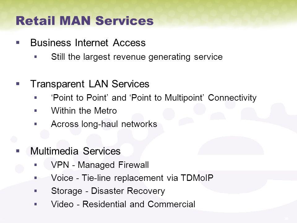 Retail MAN Services Business Internet Access Transparent LAN Services