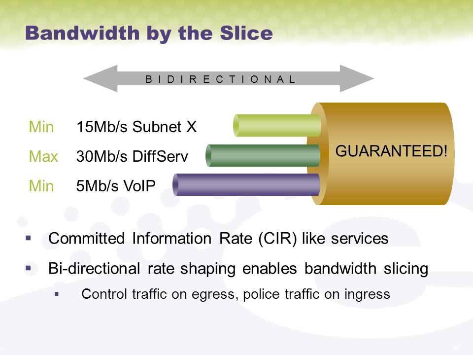 Bandwidth by the Slice Committed Information Rate (CIR) like services