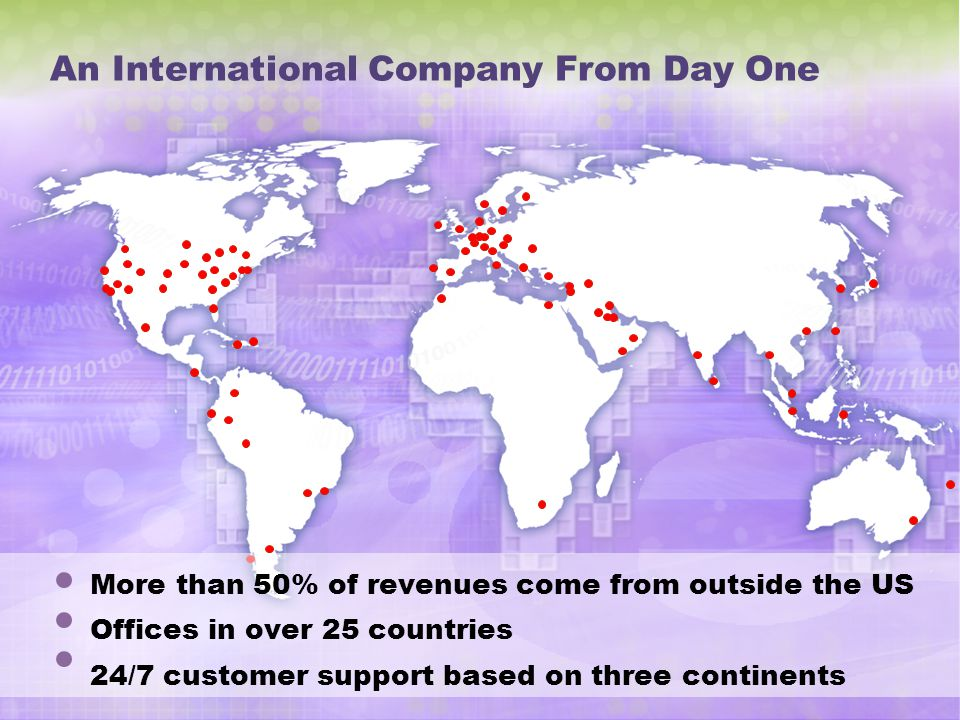 An International Company From Day One
