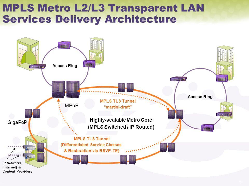 MPLS Metro L2/L3 Transparent LAN Services Delivery Architecture