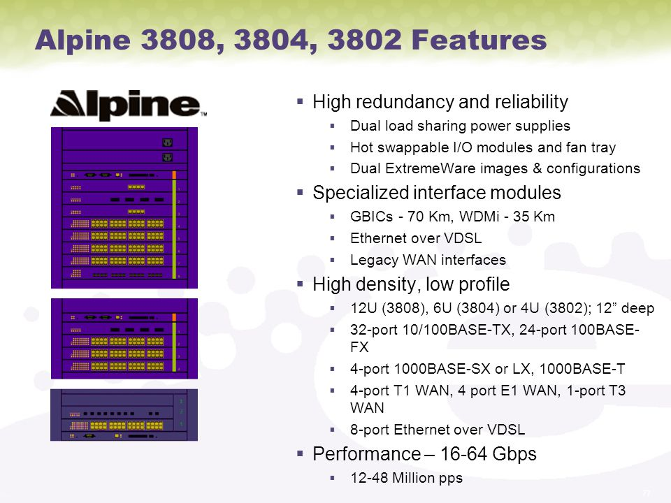 Alpine 3808, 3804, 3802 Features High redundancy and reliability