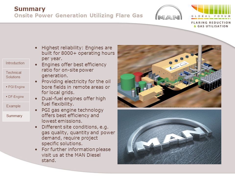 Summary Onsite Power Generation Utilizing Flare Gas