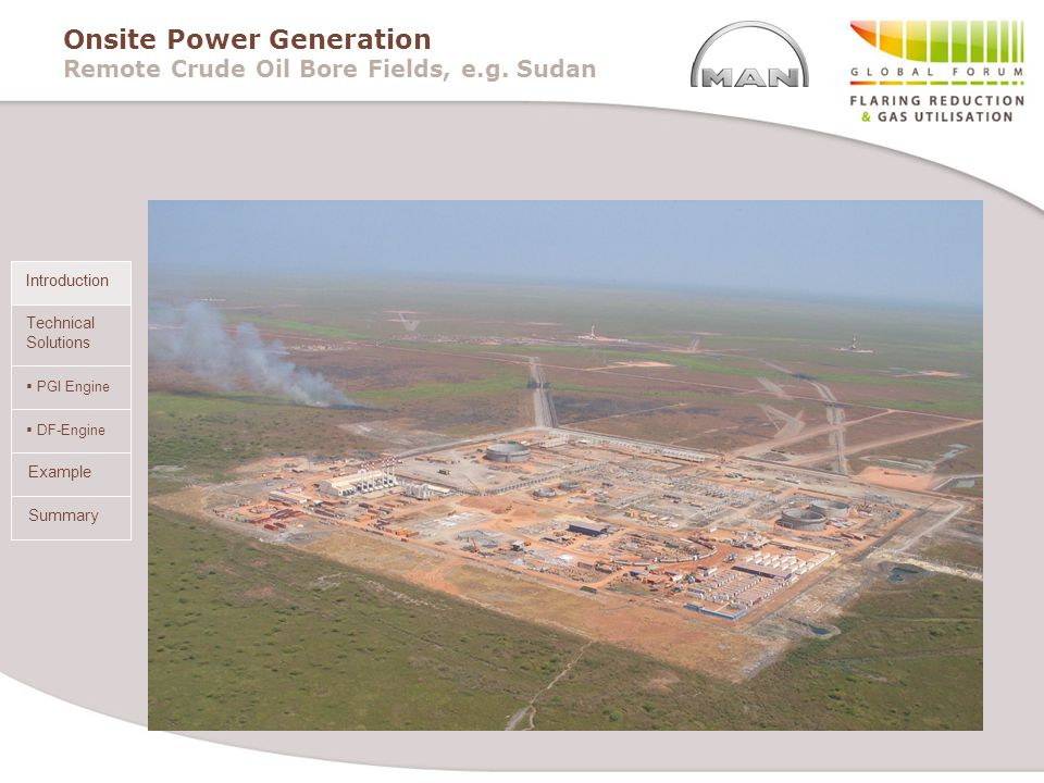 Onsite Power Generation Remote Crude Oil Bore Fields, e.g. Sudan