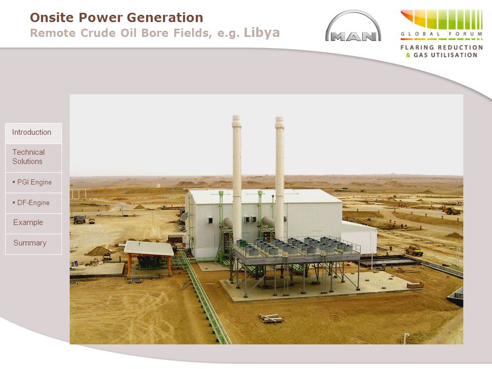 Onsite Power Generation Remote Crude Oil Bore Fields, e.g. Libya