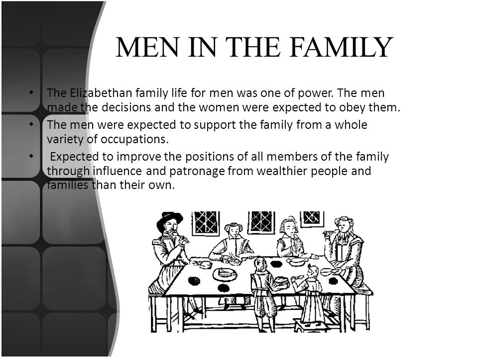 MEN IN THE FAMILY The Elizabethan family life for men was one of power. The men made the decisions and the women were expected to obey them.