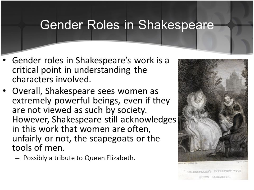 the conflicting roles of men and women in shakespeares society essay The evolution of men and women, how the roles in society have changed over the last five hundred or so years women have come a long way we have seen in the sixteen hundreds arranged marriages where the woman had no say in the union, and the relationships were is based on money or prestige (shakespeare 1668.