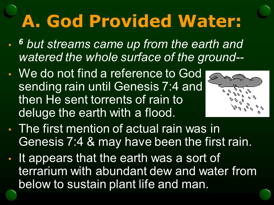 A. God Provided Water: 6 but streams came up from the earth and watered the whole surface of the ground--