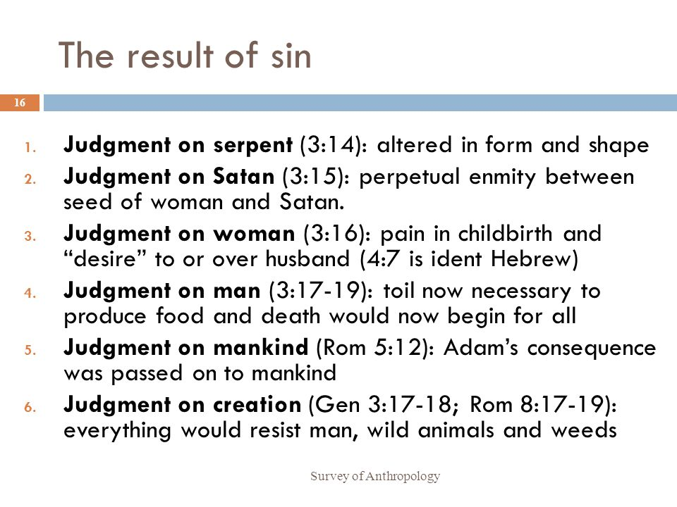 The result of sin Judgment on serpent (3:14): altered in form and shape.