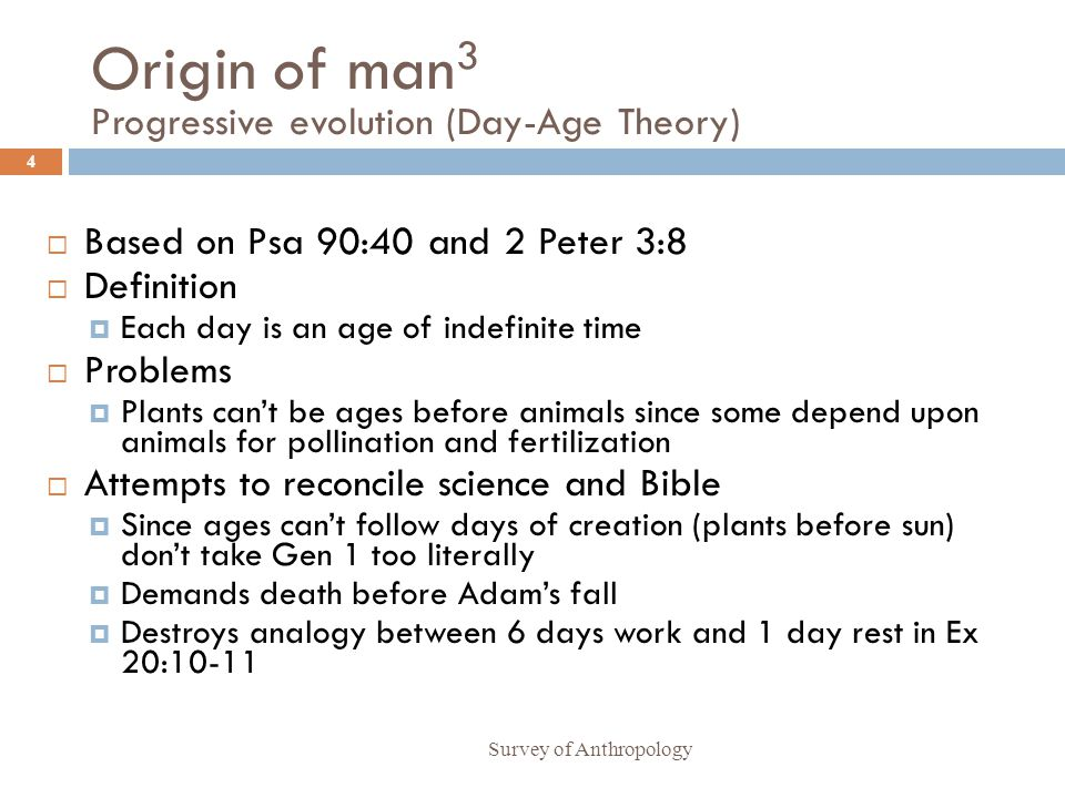 Origin of man3 Progressive evolution (Day-Age Theory)